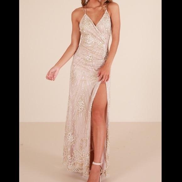 Showpo Dresses Showpo Cream Gold Sparkly Prom Dress Poshmark